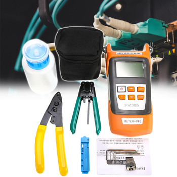 Fiber Optic FTTH Tool Kit With FC-6S Fiber Cleaver Optical Fiber Power Meter Wire Stripper With Black Carry Bag
