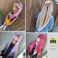 Miss Rola 22 Inch 60G Kanekalon Hair Synthetic Jumbo Braid Yaki Straight Hair Extension Pink Blonde Twist Braid Bulk Wholesale 2