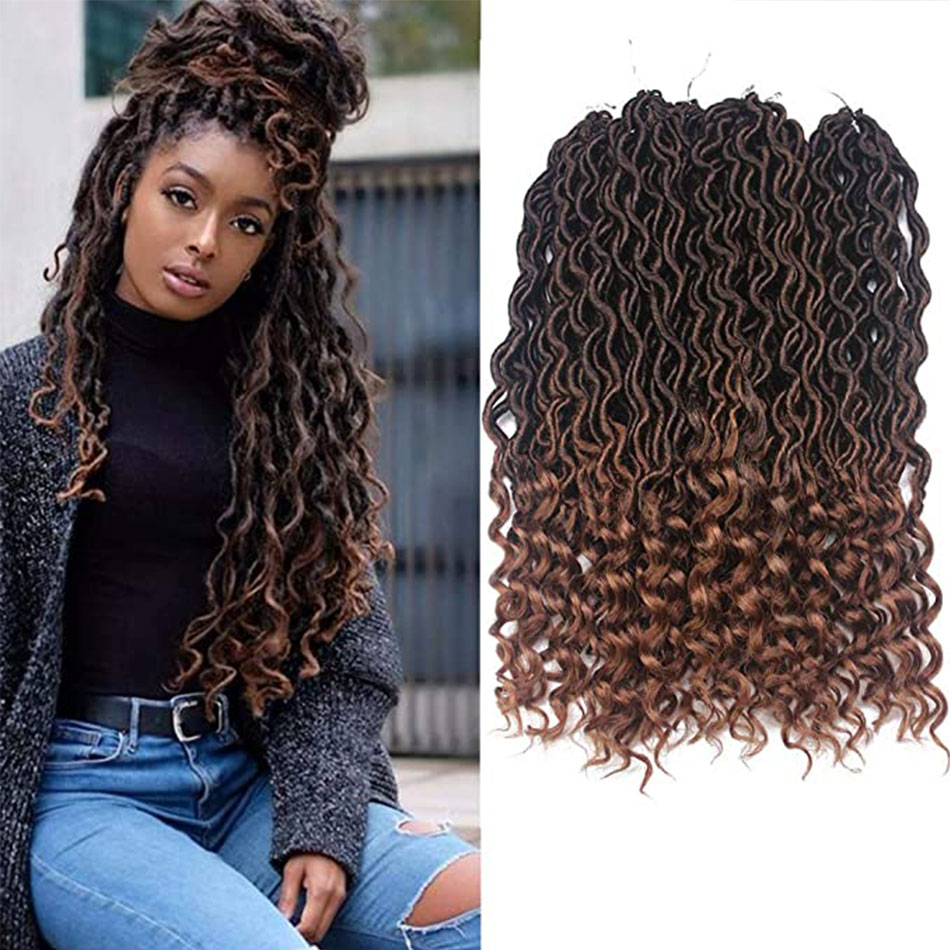 Goddess Faux Locs Crochet Hair Braids Wavy Synthetic Braiding Hair Deep Wave Curly Ends Loc Hair Extension New Style Bouncy