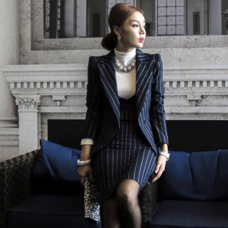 Work Striped Office Lady Dress Suits 2 Two Piece Sets Elegant Women Blazer Jacket And Sheath Dresses Suits Femme