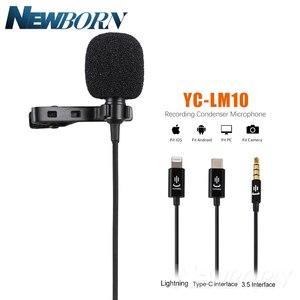 Image 1 - Microfone de áudio e gravação de vídeo para celular, condensador, lavalier, para iphone 8, 7, 6, 5, YC LM10, ipad, huawei, samsung, xiaomi, 4S tipo c