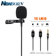 YC LM10 טלפון אודיו וידאו הקלטה Lavalier הקבל מיקרופון עבור iPhone 8 7 6 5 4S 4 ipad Huawei Sumsang Xiaomi סוג C