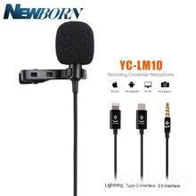 YC LM10 telefon ses Video kayıt yaka kondenser mikrofon için iPhone 8 7 6 5 4S 4 ipad Huawei samsung xiaomi C tipi