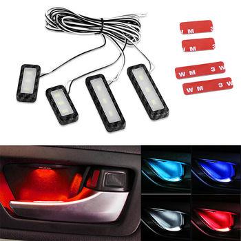 цена на 4PCs Set Bowl handle Armrest Light Car Door Interior Light LED Atmosphere Light Auto Interior Door Light Decorative Lamp