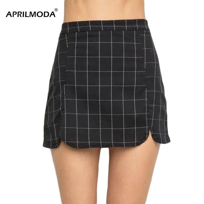 Уличная одежда, винтажная клетчатая мини-юбка-карандаш, высокая талия, черный, белый цвет, женская панк облегающая мини-юбка, облегающая