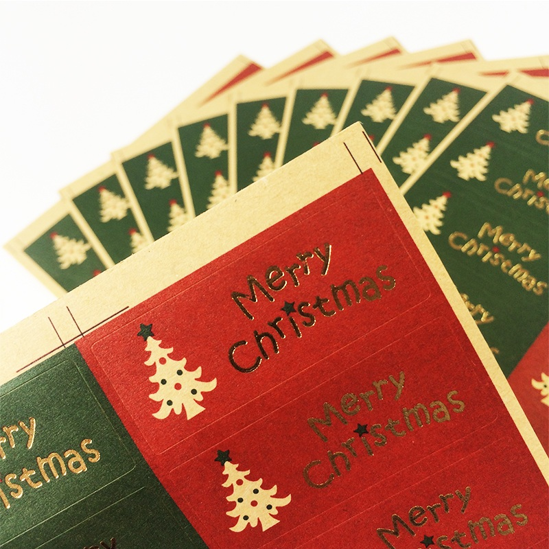 100pcs/pack Red Green Merry Christmas  Tree Decoration Gifts Package Sealing Stickers