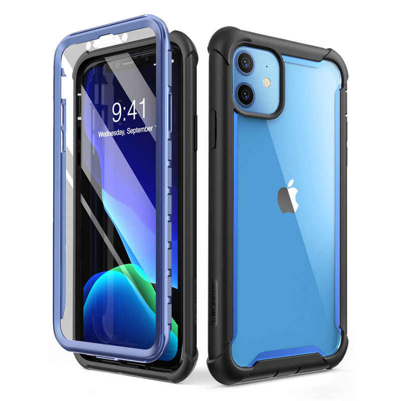 For iPhone 11 Case 6.1 inch (2019 Release) i-BLASON Ares Full-Body Rugged Clear Bumper Cover Case with Built-in Screen Protector