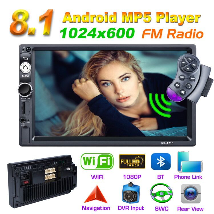 Factory Hotsale 2 Din Android 8.1 Universal 7 Car Radio GPS MP5 Player autoradio For Nissan TOYOTA Kia Honda VW Hyundai image
