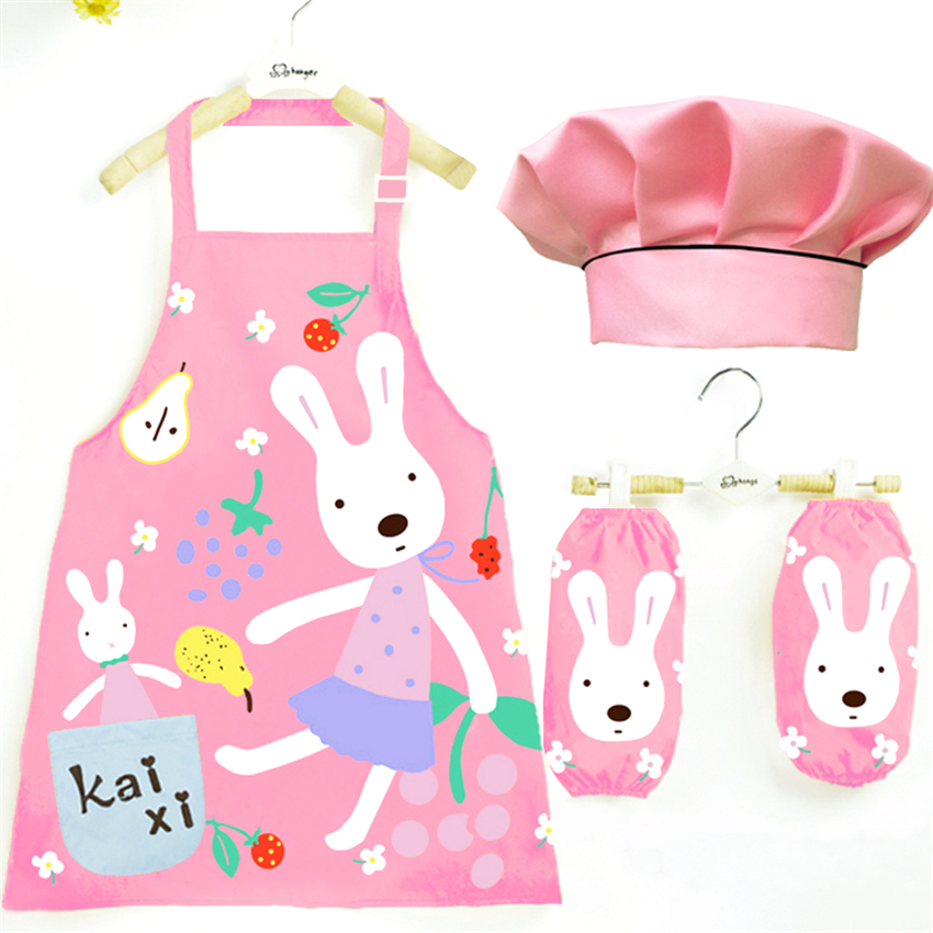 5Color Baby Girls Chef Uniform Cook Baking Drawing Painting Waterproof Clothing For Boys Apron+sleeve+hat Costumes Set