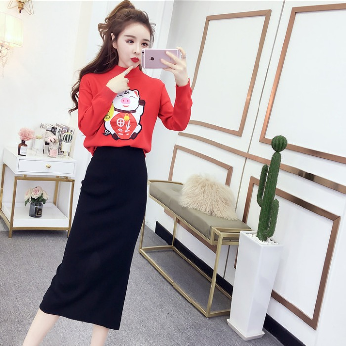 Spring New Products 2019 Pigskin New Style Lucky Pig Flower Stickers Knitted Sweater + Sheath Slit Knitted Dress Western Style S