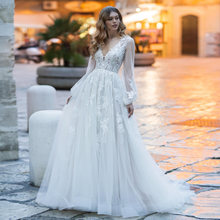 Glamous свадебное платье 2020 с длинными рукавами фонариками