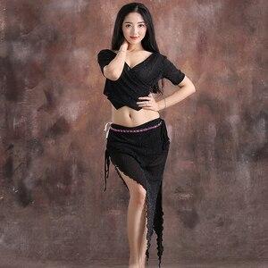 Image 4 - Conjunto de danza del vientre de hilo para mujer, top de manga corta con cuello de pico profundo + falda, 2 uds., traje de danza del vientre, conjunto de ejercicio para mujer, 4 colores M L