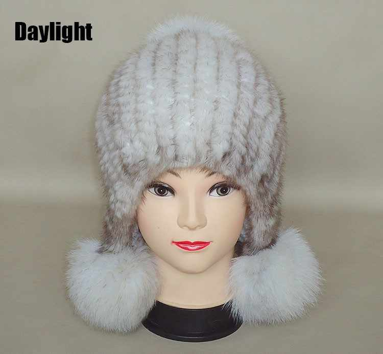 New Genuine real natural knitted Mink Fur Hat Cap women hand made Fashion  Winter Headgear with fox fur ball