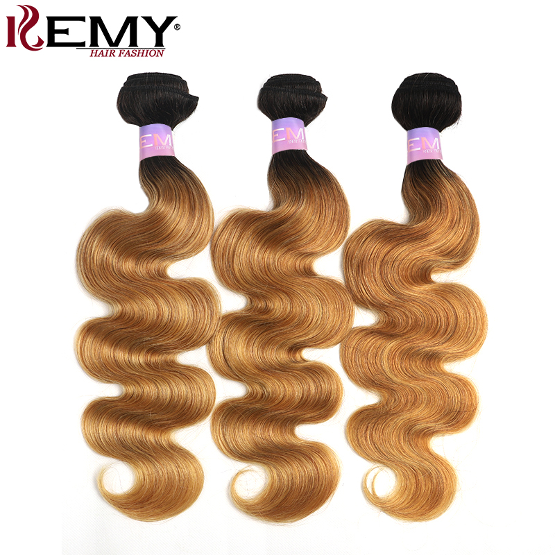 T1B/27 Body Wave Human Hair Bundles KEMY HAIR  8-26 Inch Ombre Honey Blonde Hair Weave Bundles 3/4PCS Non-Remy Hair Extension