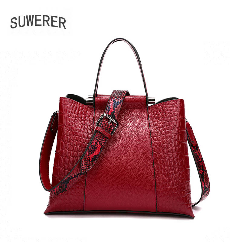 SUWERER 2020 New Women Genuine Leather bag fashion Luxury handbags Women famous brand cowhide bag women leather shoulder bag