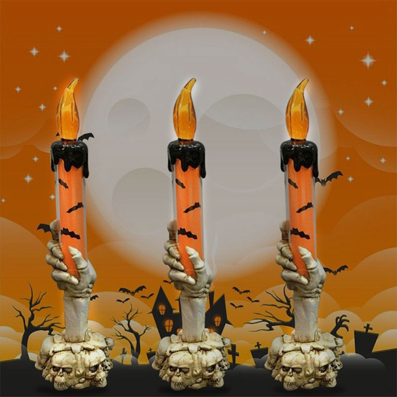 Party Decoration Hall Skull Candlestick Skeleton Candle Creative Horrible Smokeless Home 2019 Halloween 3-Heads Plastic