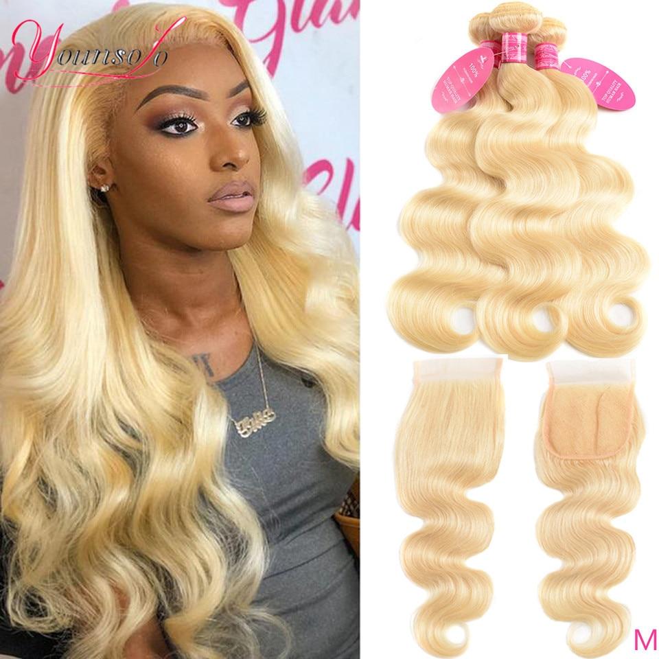 Блонд Younsolo 613 пряди с застежкой, волнистые человеческие волосы 4*4, кружевная застежка пряди, бразильские человеческие волосы Remy для наращива...