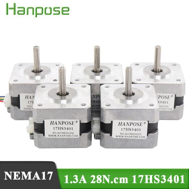 5pcs/הרבה 4 עופרת Nema17 מנוע צעד 42 מנוע Nema 17 מנוע 42BYGH 1.3A (17HS3401) מנוע עבור 3D מדפסת