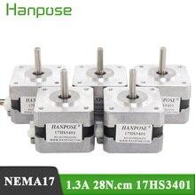 5pcs/ a lot 4-lead Nema17 Stepper Motor 42 motor Nema 17 motor 42BYGH 1.3A (17HS3401) motor for 3D printer
