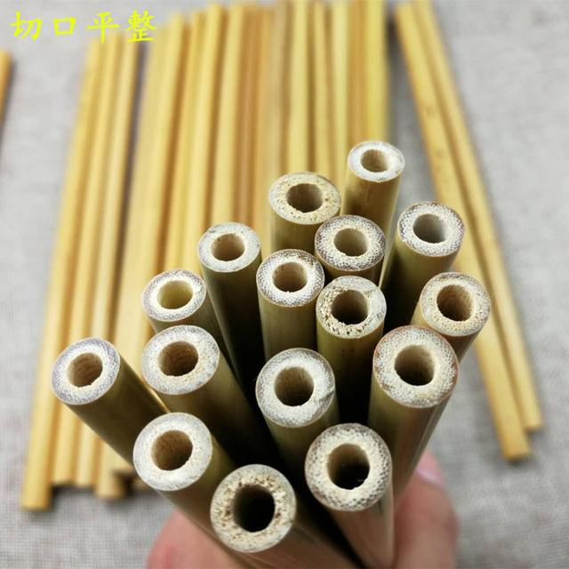 4 or6PCS Natural Bamboo Straw Set Eco Friendly Bamboo Straw Reusable Drinking Straws with Straw Case Clean Brush 8 or 9inches 6