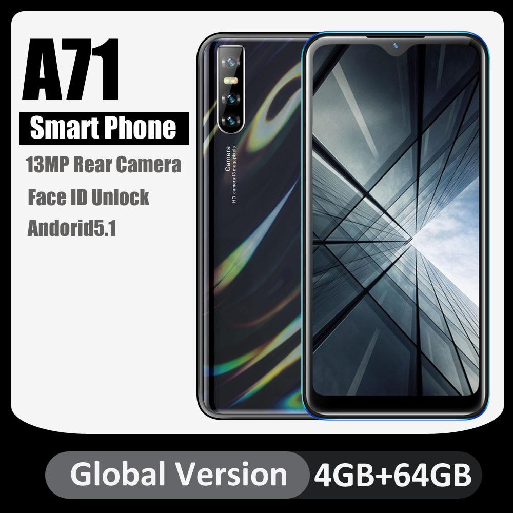 Глобальная версия A71 сотовые телефоны четырехъядерный Android 5,1 распознавание лица разблокированный 6,26 дюймовый HD экран 4 Гб 64 Гб 13мп камера за...
