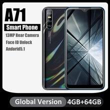 Versão global a71 telefones celulares quad core android5.1 face id desbloqueado 6.26 polegada hd tela 4gb 64gb 13mp câmera traseira telefones celulares