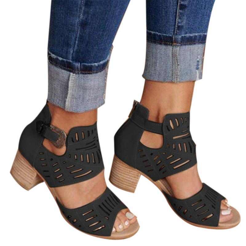 Sommer Frauen Eimer Sandalen Mode Weibliche Aushöhlen Schuhe Quadrat Mitte Heels Schuhe Komfortable PU Leder Peep-Toe Schuhe