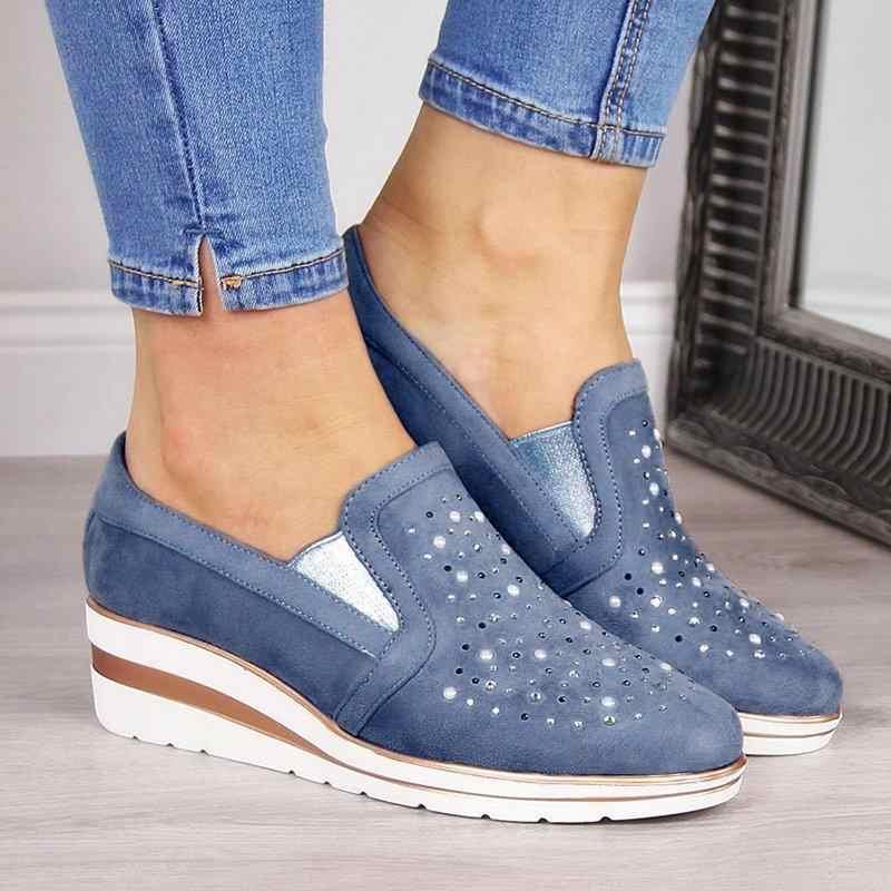 Dropshipping Wanita Wedge Kanvas Sepatu 2020 Wanita Kasual Sepatu Tunggal Ukuran Bernapas Berlian Imitasi Slip-On Sandal Wanita Pompa