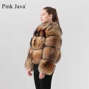 Image 3 - Розовый JAVA QC1884 Новое поступление пальто из натурального меха енота, женская меховая куртка зима роскошные пушистые енота пальто Лидер продаж