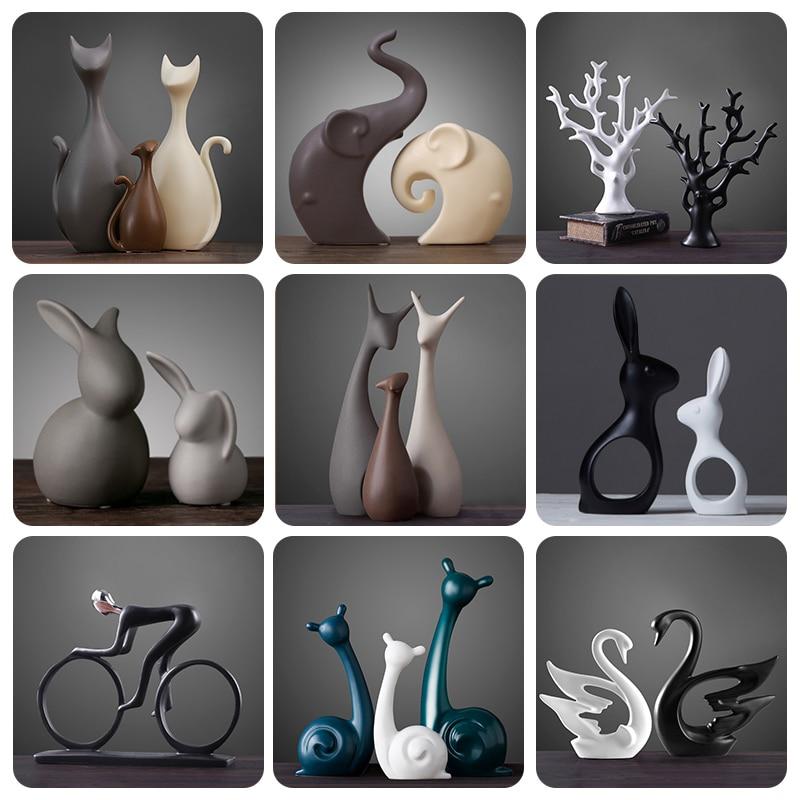 Nordic Table Ceramic Ornaments Porcelain Animals Decorations Include Elephant Cat Deer Rabbit Snail Home Decor Crafts Miniatures
