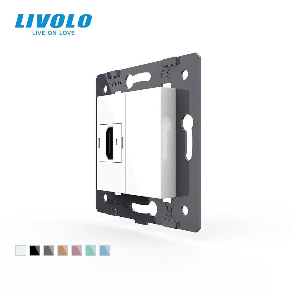 Производитель, Livolo Белые пластиковые материалы, 45 мм * 22 мм, стандарт ЕС, функциональная клавиша для разъема HDMI, VL-C7-1HD-11 (4 цвета)