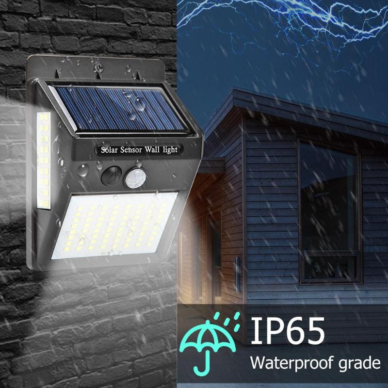 4X 48 LED Solar Powered PIR Motion Sensor Wall Security Light Garden Outdor Lamp