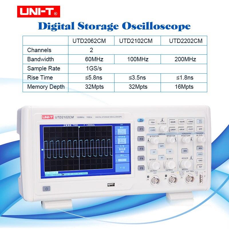 UNI-T Multi-funktionale Digitale Speicher Oszilloskop Schaltbare Sonden 2 Kanal 1GS/s probe rate osciloscope 7 zoll TFT LCD