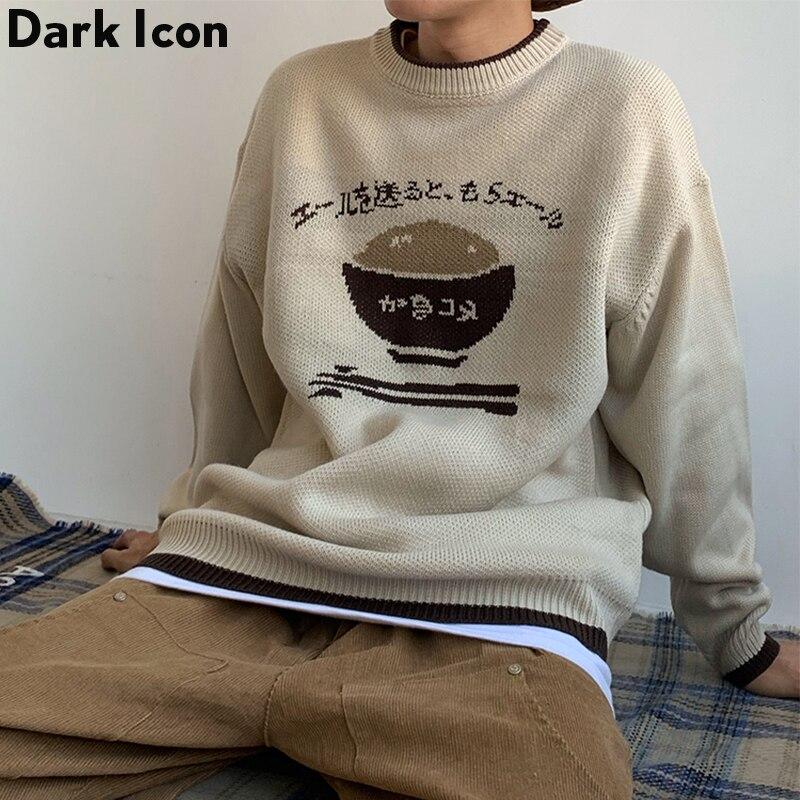 DARK ICON Japanese Funny Jacquard Pull Sweater Men Women Winter Street Long Sleeve Jumper Sweaters Fashion Casual Outwear