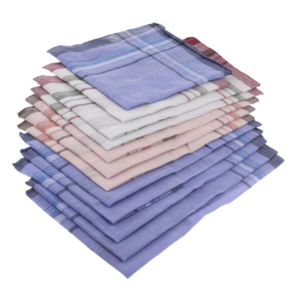 12Pcs Men Vintage Soft Cotton Pocket Square Classic Check Hankies Kerchiefs