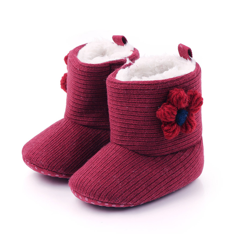 Winter Warm Baby Boots Knitting Thicken Newborn Baby Girl Shoes Infant Shoes For Baby Girls Baby First Walker F107