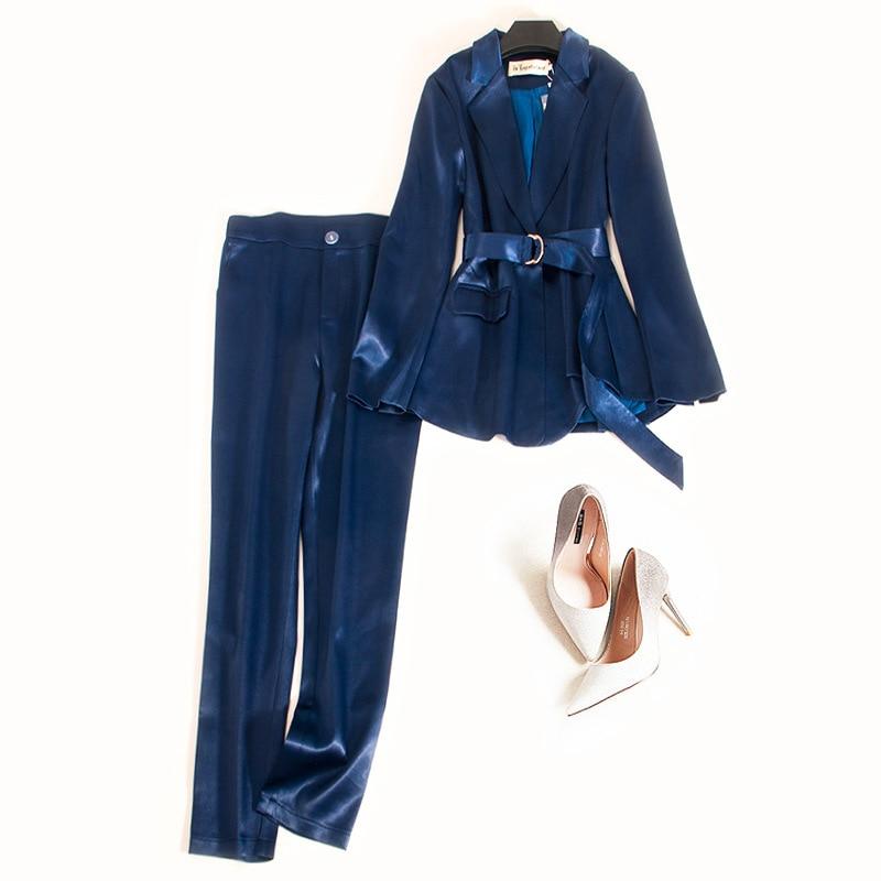 Women Elegant OL Office Work Wear Long Sleeve Satin Blazer Top And High Waist Full Length Pencil Trousers One Set