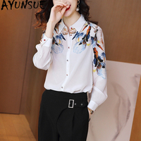 100% Real Silk Vintage Blouse Women Clothes 2020 Long Sleeve Office Shirt Women Blouses Ladies Tops Elegant Shirts SJ20010304