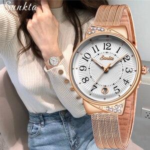 SUNKTA женские часы Топ бренд класса люкс Женские сетчатые ремни ультратонкие часы из нержавеющей стали водонепроницаемые кварцевые часы Reloj ...