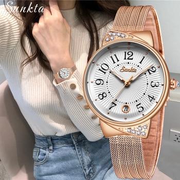 SUNKTA Women Watches Top Brand Luxury Ladies Mesh Belt Ultrathin Watch Stainless Steel Waterproof Clock Quartz Watch Reloj Mujer