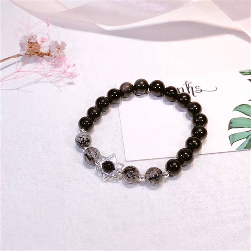 Купить с кэшбэком Luxury Original 925 Sterling Silver Obsidian with Natural Crystal Bead Chain Bracelet Ins Magic Hexagon Star Women Fine Jewelry