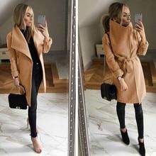 Nuevo 2019 Otoño Invierno mujeres prendas de vestir exteriores vestido de oficina señoras Trench Coat entallado Formal prendas de vestir elegantes color caqui rosado negro