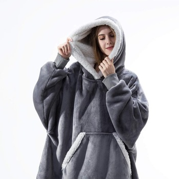 Oversized Hoodie Blanket With Sleeves Sweatshirt Plaid Winter Fleece Hoody Women Pocket Female Hooded Sweat Oversize Femme 1