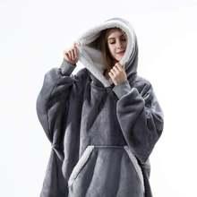 Толстовка с капюшоном одеяло рукавами свитшот клетчатая зимняя