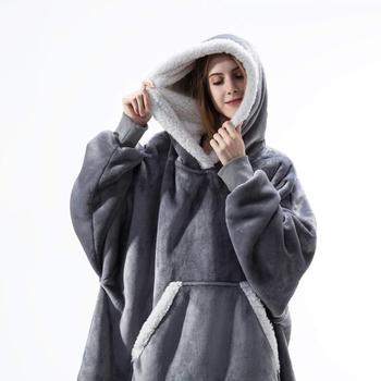 Oversized Hoodie Blanket With Sleeves Sweatshirt Plaid Winter Fleece Gift For Women Female Sherpa Giant Moleton Sweat Femme 2021