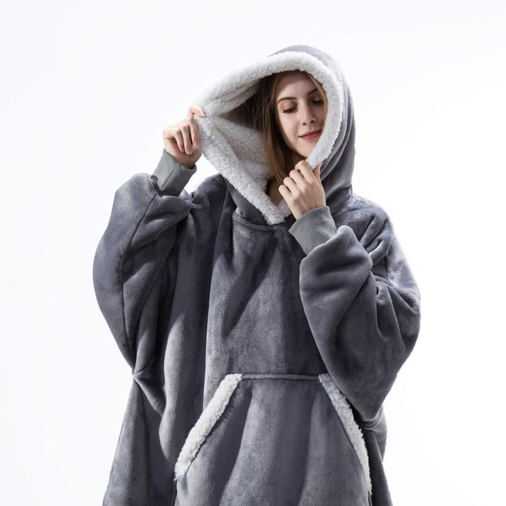 Oversized Hoodie Blanket With Sleeves Sweatshirt Plaid Winter Fleece Hoody Women Pocket Female Hooded Sweat Oversize