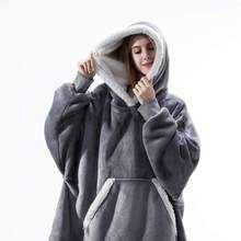Sweat à capuche couverture avec manches Sweat Plaid hiver polaire à capuche femmes poche Femme Sweat à capuche Oversize Femme