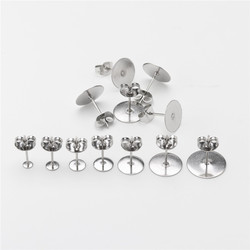 100pcs/lot 3-12mm Stainless Steel Blank Post Earring Studs Base Pins With Earring Plug Findings Ear Back For DIY Jewelry Making