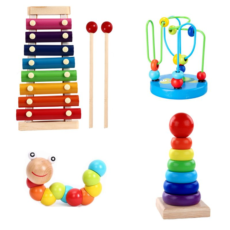 Montessori Wooden Toys Childhood Learning Toy Children Kids Baby Colorful Wooden Blocks Enlightenment Educational Toy