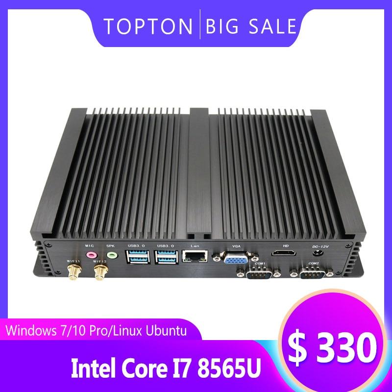 Fanless Industrial PC,Mini Computer,Windows 7/10 Pro/Linux Ubuntu,Intel Core I7 8565U(Black)[1VGA/1HDMI/4USB3.0/1LAN/2COM] Bare